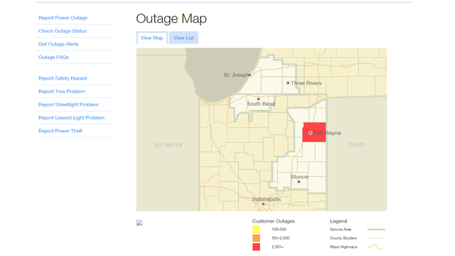 Northeast Power Outage Map.Power Restored On Northeast Side Of Fort Wayne