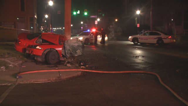 Car into pole leaves two hurt