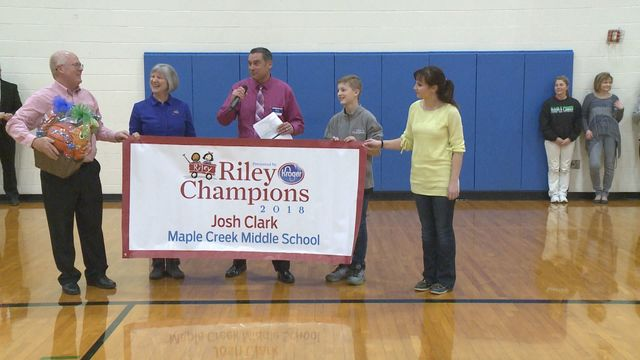 Maple Creek Middle School student named Riley Champion