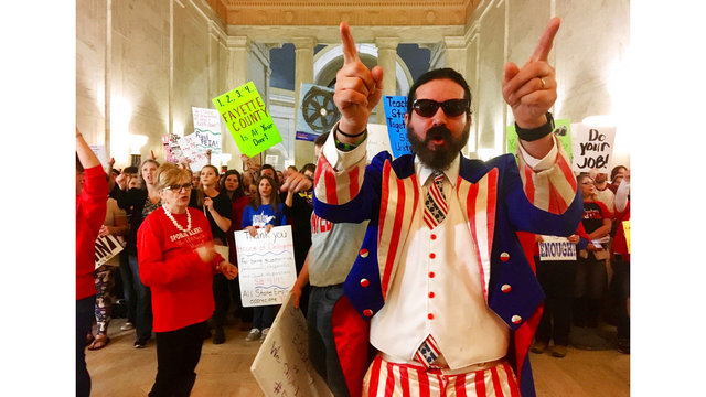Local teachers protest pension bill