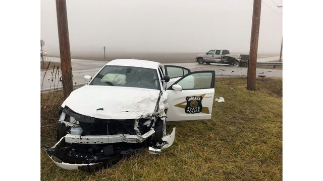 Indiana State Trooper injured in crash with pickup